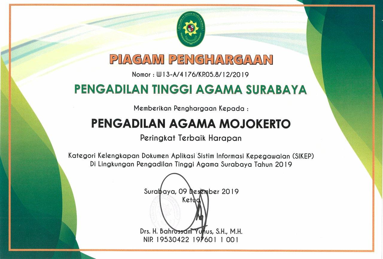 SIKEP Terbaik Harapan 2019 PTA Surabaya Se-Jawa Timur