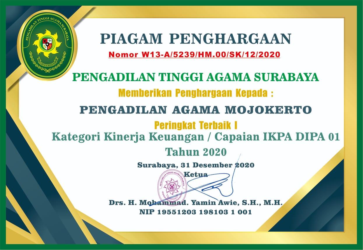 Peringkat 1 IKPA DIPA 01 Tahun 2020 PTA Surabaya