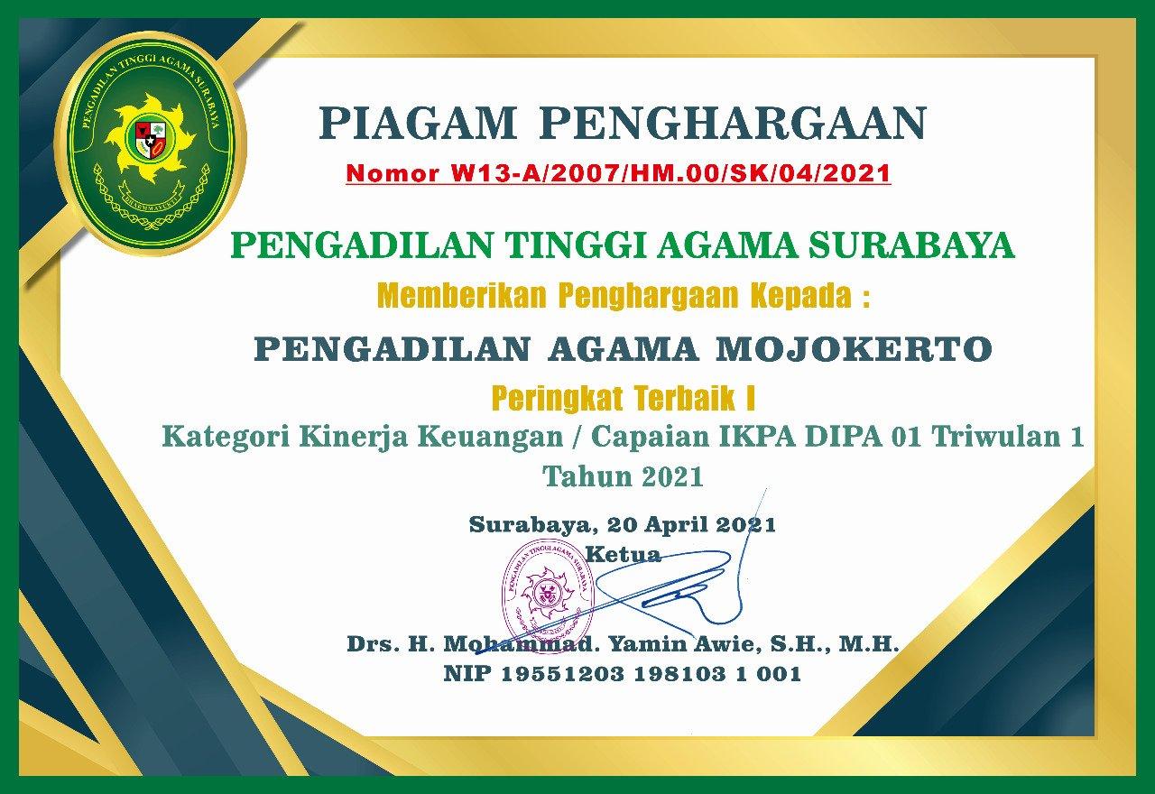 Peringkat 1 IKPA 2021 TW 1 Jawa Timur