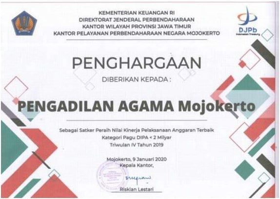 Anggaran 2M Terbaik 2019 TW 4 Kemenkeu KPPN Mojokerto